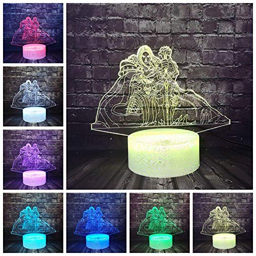 3D Night Light Fashion Safe Of Baby Crack 7 Sensor de color Touch Night Light Cool Figure Wow Movie Lich King Ner Zhul Led Lámpara de mesa Xmas Gift-Controller_7_Color_China