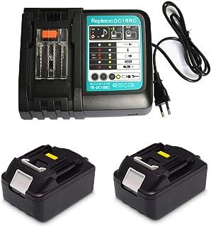 Cargador de repuesto de 3 A con 2 baterías de 18 V 4,0 Ah para radio Makita DMR100 DMR110 DMR108 DMR107 DMR109 BMR100 BMR102 DMR101 DMR103B BMR104 BMR103 DMR104 DMR105 DMR106 DMR102