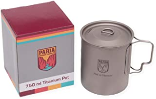 Paria Outdoor Products Titanium Pot with Lid - Ultralight, Compact and Extremely Durable - Perfect for Backpacking and Camping