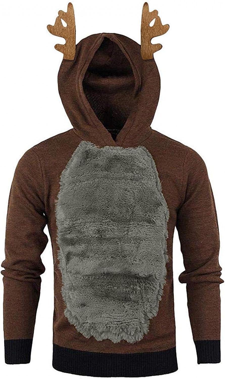Aayomet Hoodies for Men Christmas Xmas 3D Elk Pullover Hoody Feather Hooded Color Block Long Sleeve Sweatshirt