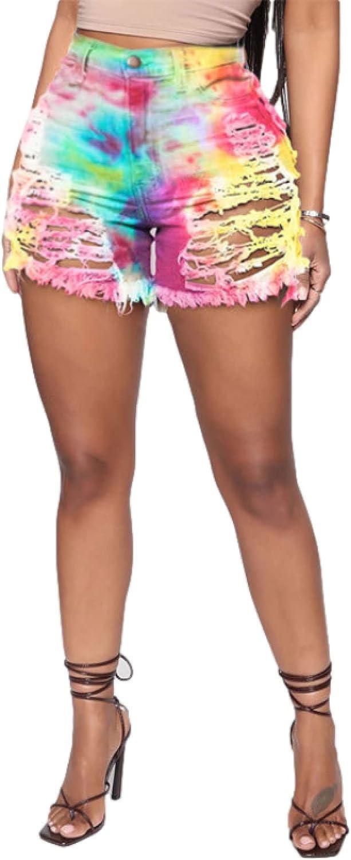 Fainash Women's Personality Ripped Denim Shorts Trend Printed ColorBlocking Streetwear