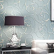 KeTian Modern Minimalist 3D Rose Flower Non-Woven Deep Embossed Textured Living Room Bedroom Wallpaper Roll Light Blue 0.5...