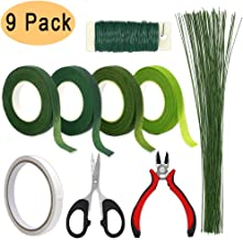Floral Arrangement Tools, WEST BAY 9Pcs Flower Craft Tools Include Floral Wire Cutter Shears 4Pcs Floral Tape 26 Gauge Stem Wire 22 Gauge Paddle Wire Double-Sided Tape for Bouquet Stem Wrap Florist