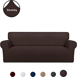 PureFit Super Stretch Chair Sofa Slipcover – Spandex Non Slip Soft Couch Sofa Cover, Washable Furniture Protector with Non Skid Foam and Elastic Bottom for Kids, Pets (Sofa, Chocolate)