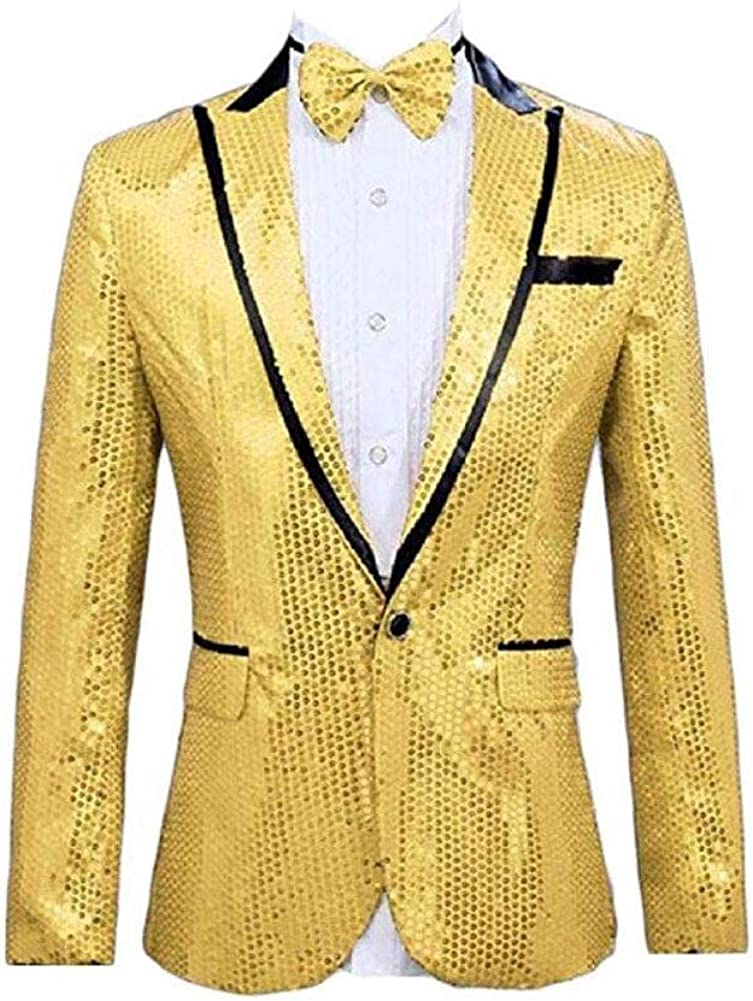 Men's Yellow Sequined One Button Blazer Peak Lapel Tuxedo Jacket Wedding Coat Yellow 42/36