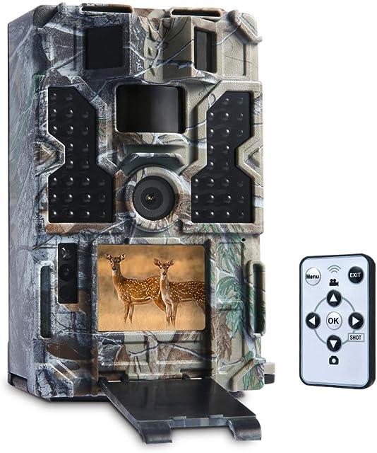 TOMSHOO Cámara de caza nocturna de 16MP/20MP 1080P HD con sensor PIR cámara de fototramp con ángulo amplio de 130° y 20M de distancia y 850nm 32pcs IR Invisible Leds Visión nocturna para el seguimiento de la vida silvestre