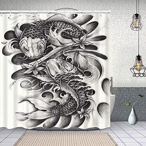 Cortina Baño,Fancy Carp Fish Tattoo Dibujo a lápiz sobre Papel a Mano,Cortina de Ducha Tela de Poliéster Resistente Al Agua Cortinas de Ducha Baño con 12 Ganchos,180x180cm