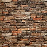 Yutianli 7mm Thick Anti-Collision self Adhesive 3D Wall Panels Peel and Stick, Antique Foam Wall Panel Faux Brick Wall Panels Faux Stone Wall Panels for Living Room,Bedroom (10, Style A)