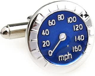 Presentation Gift Box Speedometer Race Car Auto Racing Pair Cufflinks & Polishing Cloth