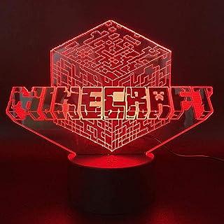 Luz de noche LED 3D, lámpara ecor con control remoto y táctil con caja de regalo para niños de 1 2 3 4 5 6 7 10 años de edad, niñas, niños, logotipo de Minecraft