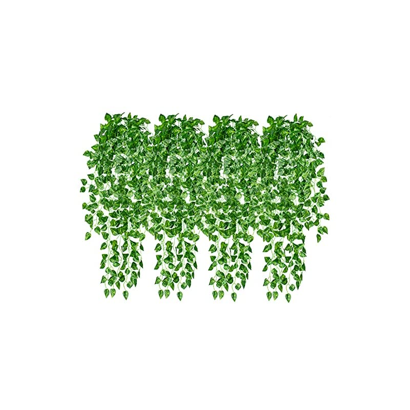 """silk flower arrangements 4 pcs artificial hanging plants 35.4"""" fake vines ivy leaves greenery garland hanging wall plants for home room wall decor garden wedding outside decoration (basket not included)"""