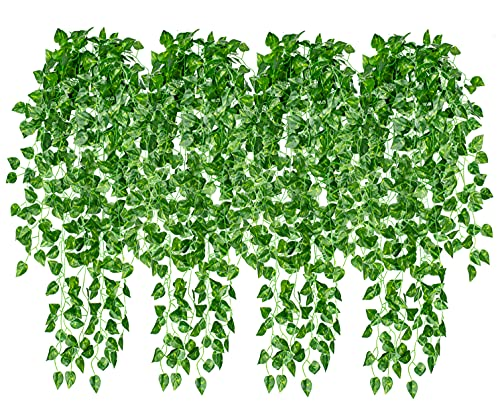 """4 Pcs Artificial Hanging Plants 35.4"""" Fake Vines Ivy Leaves Greenery Garland Hanging Wall Plants for Home Room Wall Decor Garden Wedding Outside Decoration (Basket Not Included)"""