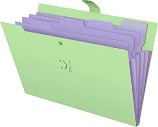 5 Plastic Pockets Expanding File Folder for Storage A4 Paper Portable (green)
