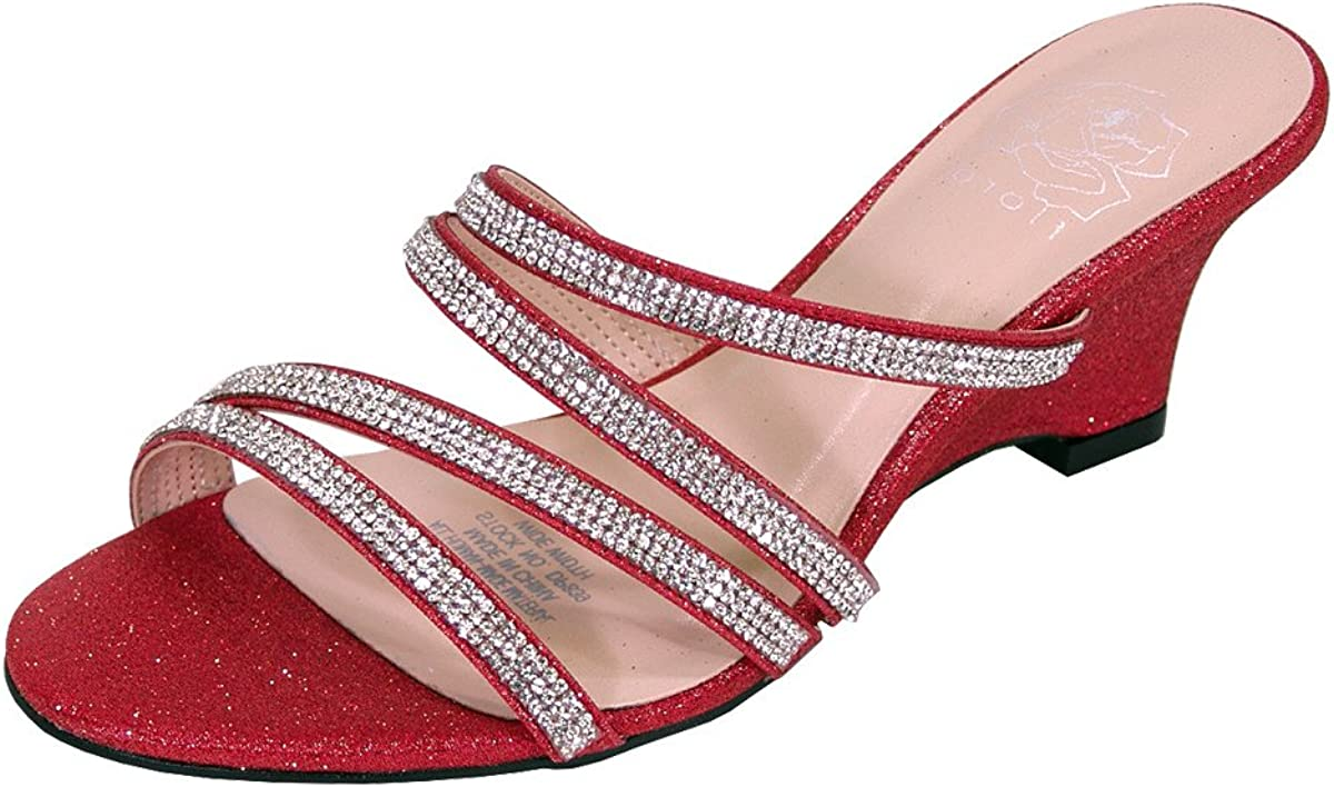 Floral Kelly Women's Wide Width Rhinestone Strappy Wedge Heeled Dress Sandals