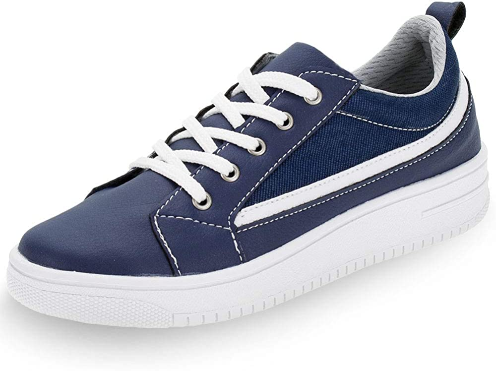 FINOBEL Kids' Sneaker lace up Casual Comfort School Shoes boy Navy Blue (Numeric_5)