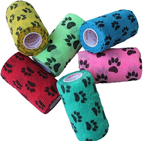 3 Inch Vet Wrap Tape Bulk (Assorted Colors) (6, 12, 18, or 24 Packs) Self-Adhesive Self Adherent Adhering Flex Bandag...