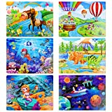 6 Pack Wooden Jigsaw Puzzles, Each 60 Pieces Wooden Puzzles Animals Puzzles for Boys and Girls