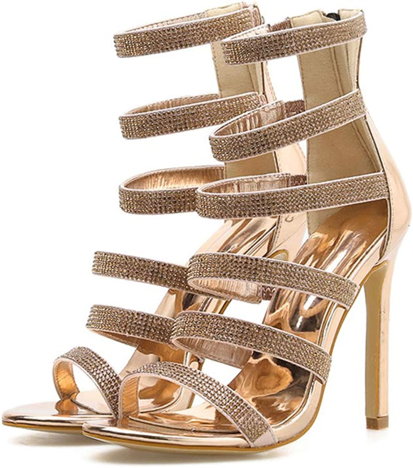 Women's Round-Toe shoes Summer High Heels Ladies Party Evening Sandals Leisure Lace-up Sandals