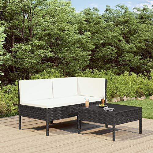 Festnight 3-TLG. Garten-Lounge-Set mit Auflagen Gartenmöbel-Set Loungemöbel-Set Gartensofas Poly Rattan Möbel-Set Sitzgruppe Garten Garnitur Sofa Schwarz