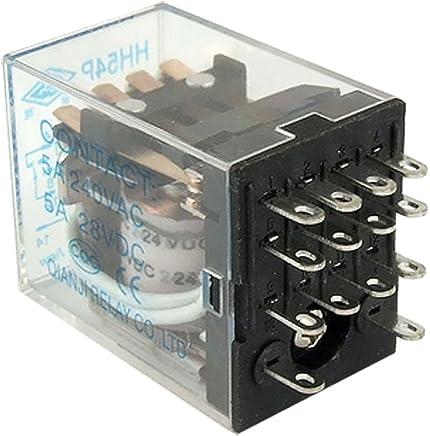 Sourcingmap Led rojo ac rel/é de potencia de la bobina 12v luz de 14 pines 4pdt 4na 4nc hh54p
