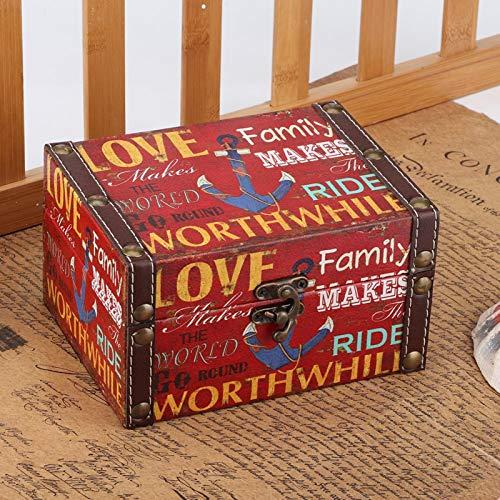 Caja de almacenamiento de madera, joyero de madera, vitrina de joyería, accesorio fotográfico de estilo europeo retro vintage para oficina de viajes(2208A-10-Loving Family)