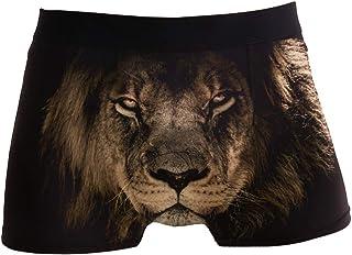 hengpai Lion King Prints Men's Boxer Briefs Soft Underwear Covered Waistband Short Leg