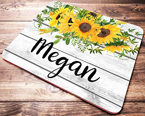 Personalized Name Mouse Pad with Sunflowers Yellow Watercolor Floral On Faux Wood Mousepad Personalized Desk Accessories for Women