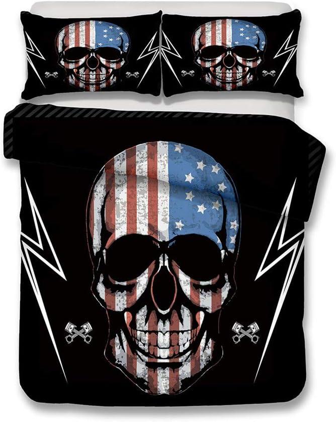 本日限定 LanS Retro Skull National Flag Duvet Bedding 売却 Cov Set Cover