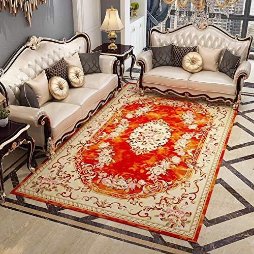 La alfombras Alfombra Salon Fácil Limpio Rojo Amarillo diseño Floral Alfombra Antideslizante Decoracion Comedor alfombras para dormitorios 60*90CM