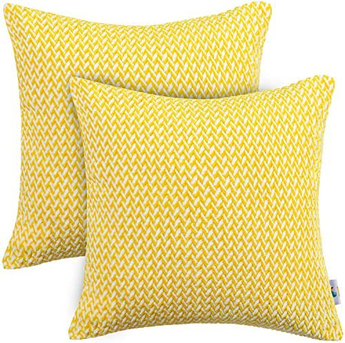 PAULEON Throw Pillow Covers 18x18 Yellow and White Set of 2 Fluffy Fiber hevron Pattern Decorative product image
