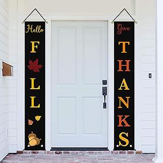 لافتة عيد الشكر AVOIN Hello Fall Give Thanks Porch Sign Acorn Maple Leaf Leave، حصاد الخريف خمر عيد الشكر راية لـ Yard Ind...