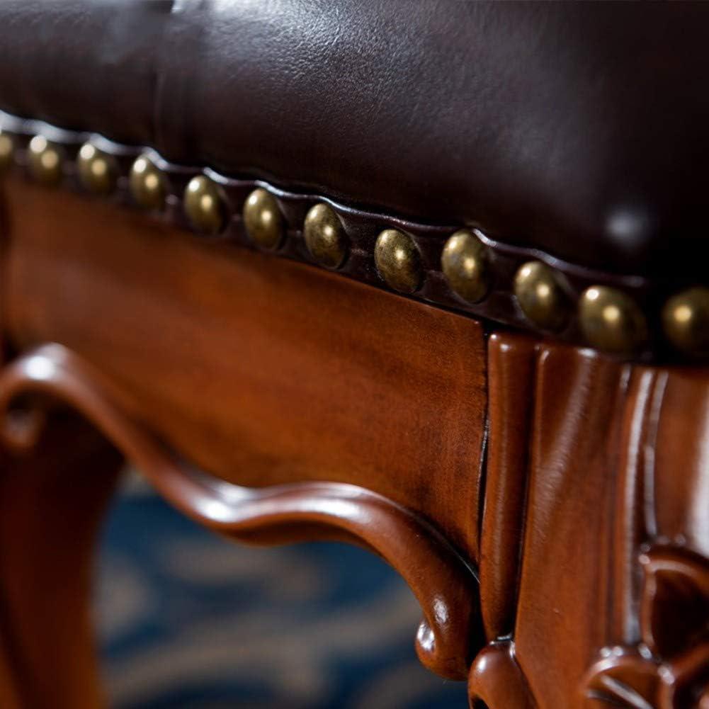 CYQ Petit Repose-Pieds Pouf, Repose-Pieds rembourré en Cuir Repose-Pieds Repose-Pieds Tabouret 4 Pieds en Bois sculpté pour Salon Chambre café A Blue-upgraded B