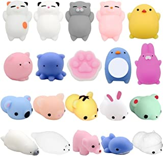 YESONE Mochi Squishy Toys, 20 Pcs Mochi Kawaii Squishies Squishy Animals Stress Toys Stress Relief Animal Toys Squeeze Toys Squishy Cats Mini Seal Squishy Cat Pig Elephant Tiger Rabbit Squishies