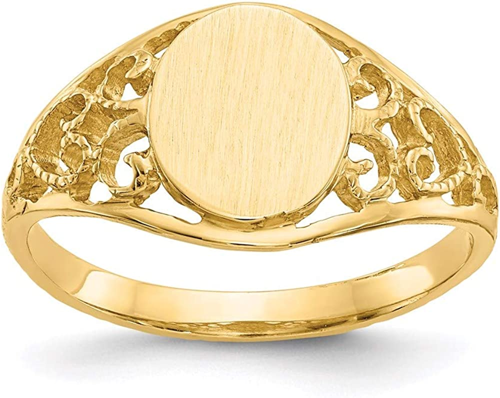 14k Sales Yellow Gold 8.5x7.5mm Filigree Signet Ring 6.00 Band Size Fi New product type