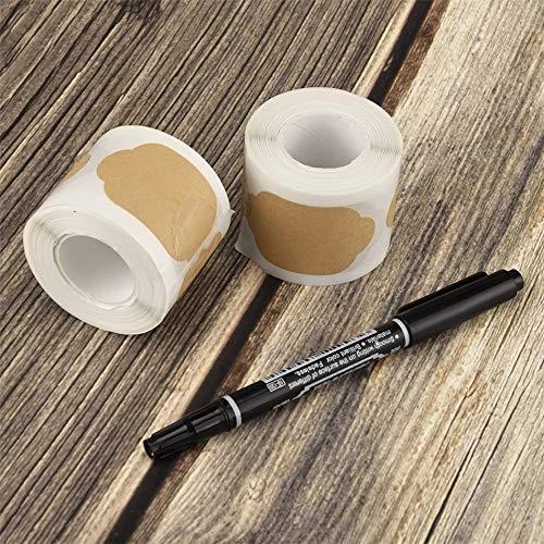 BLOUR 300pcs Adesivi per barattoli da Cucina Adesivo per Etichette in Bianco Kraft Vintage Fatto a Mano per Regalo Adesivi per Etichette a Tenuta stagna per Cottura di Torte Regalo