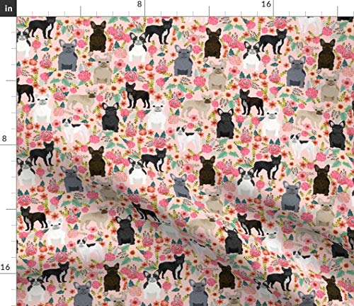 Spoonflower Fabric - Frenchie Florals Cute French Bulldogs Best Pet Bulldog Frenchies Printed on Chiffon Fabric by The Yard - Sewing Fashion Apparel Dresses Home Decor