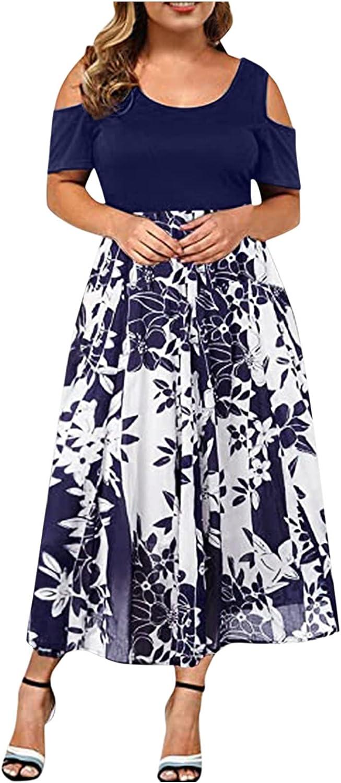 Summer Plus Size Maxi Dresses for Wedding Guest, Womens Black Sexy Lace Cold Shoulder Short Sleeve Crewneck Long Dress