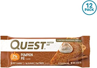 Quest Nutrition Pumpkin Pie Protein Bar, High Protein, Low Carb, Gluten Free, Keto Friendly, 12 Count