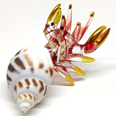 Seashell Hermit Crab Figurines Blown Glass Mix Natural White Black Shell Beach Animals Collectible Gift Home Decor