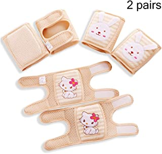 Baby Knee Pads, Adjustable Breathable Cotton Infant Toddler Crawling Pads Anti-Slip Summer Knee Safety Protector,Beige