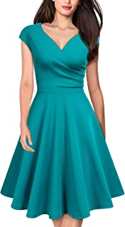 Women's Retro Deep V Neck Cap Sleeve Cocktail Party Fit and Flare Dress