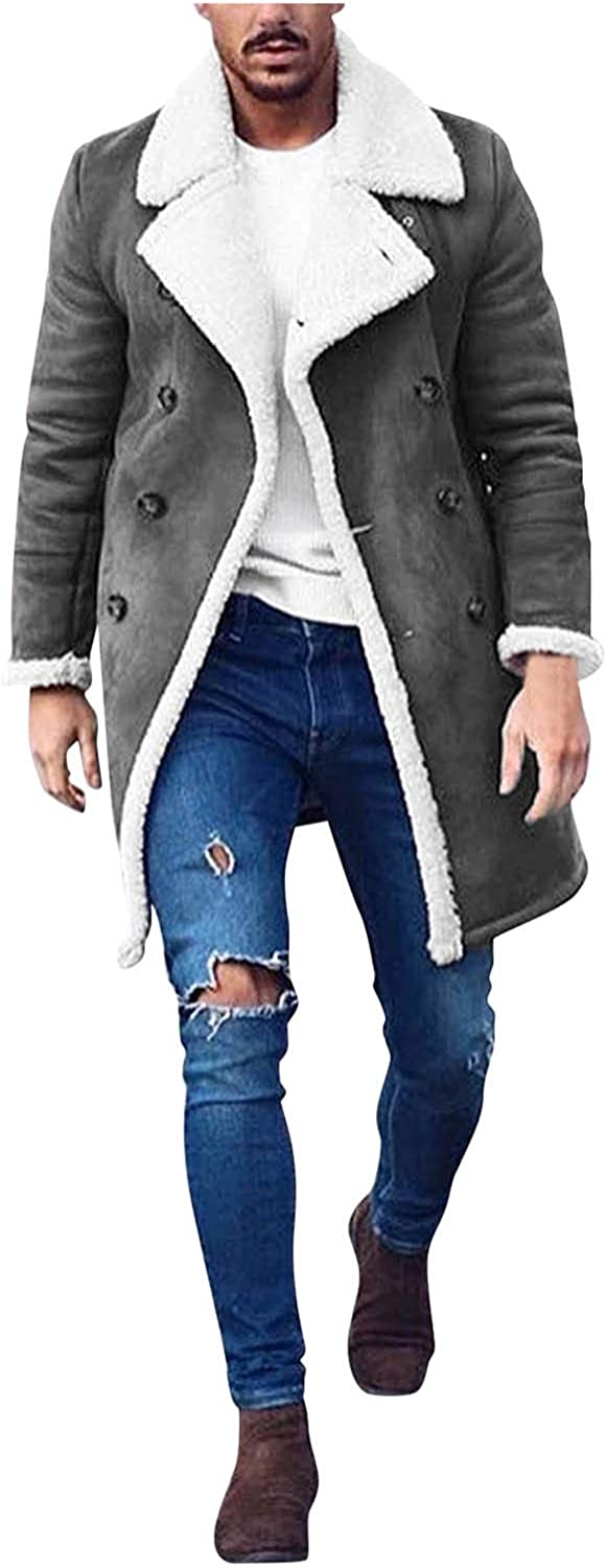 Huangse Mens Casual Sherpa Fleece Lined Jackets Winter Warm Fur Collar Long Trench Coats Big and Tall Outwears