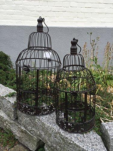 Dekowonderland - Gabbia decorativa per uccelli, 2 pezzi, stile shabby anticato