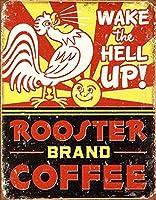 オンドリコーヒーティンサイン壁鉄絵レトロプラークヴィンテージメタルシート装飾ポスターおかしいポスター吊り工芸用バーガレージカフェホーム