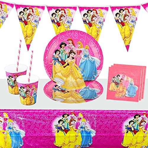 Yisscen Vajilla Princesa de Fiesta, Artículos para Cumpleaños para Fiestas para Niños, 52 piezas Party Supplies Vajilla Contiene Mantel, Banderín, Plato 10 personas Kit Mesa Fiesta Rosa