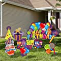 URATOT 8 Pack Happy Birthday Yard Signs Lawn Sign Balloons Yard Sign Colorful Balloon Happy Birthday Lawn Decorations Lawn Sign Party Decorations