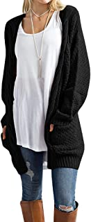Women's Cable Knit Cardigans Sweater Open Front Loose Long Sleeve Solid Color Sweater Blouses Pockets