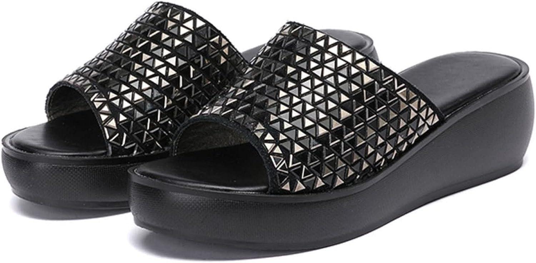 Btrada Women's Open Toe Slide Sandals Comfort Fish Mouth Slip On Wedges Ladies Fashion Sequins Platform Outdoor Slippers