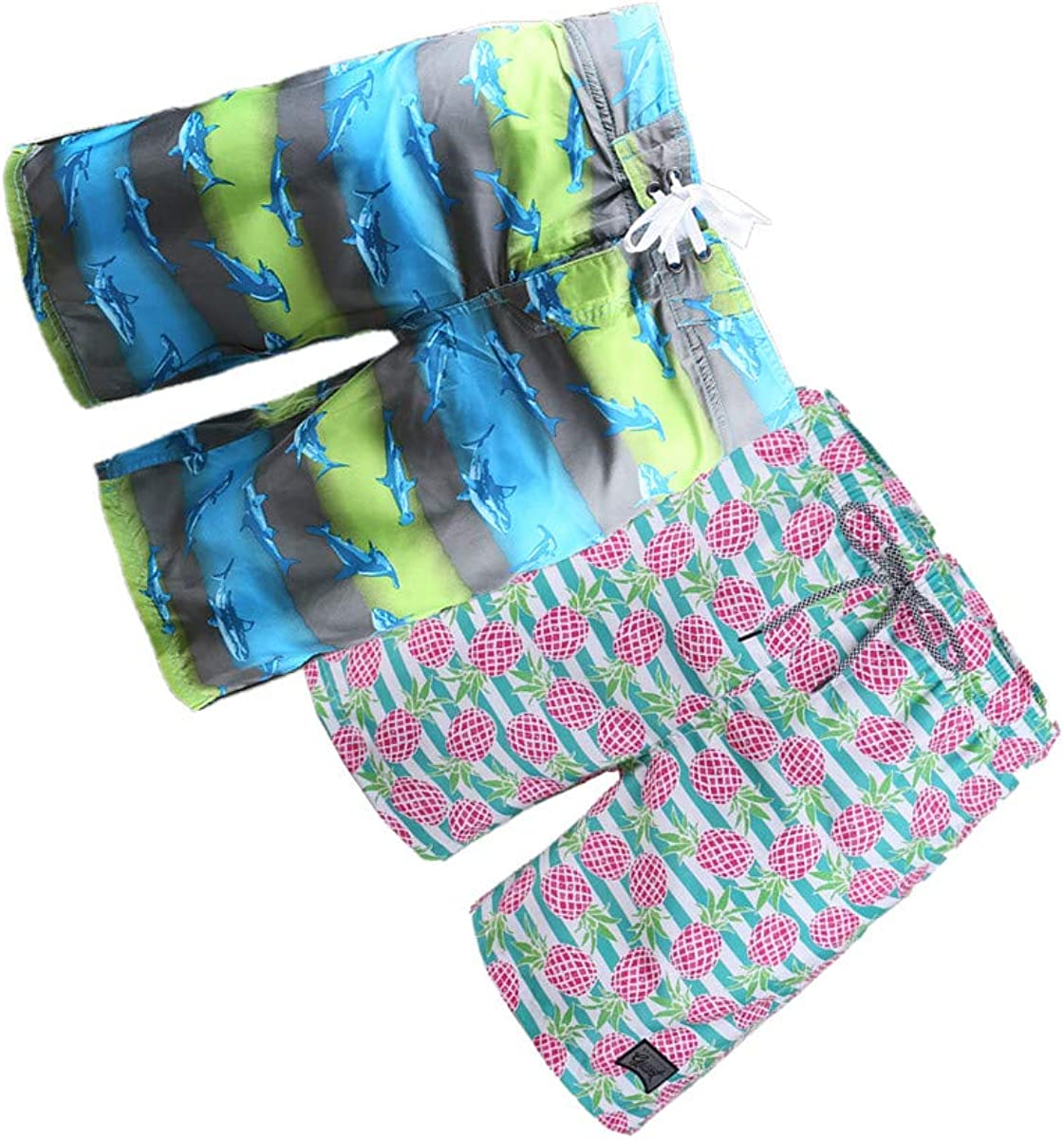 BG 2-Pcs Pack Men's Design Rash Guard Hawaiian Flamingo Sunny Pocket Board Shorts