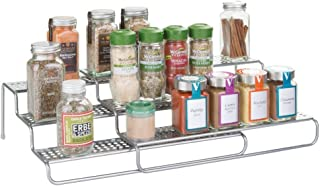 mDesign Adjustable, Expandable Kitchen Wire Metal Storage Cabinet, Cupboard, Food Pantry, Shelf Organizer Spice Bottle Rack Holder - 3 Level Storage - Up to 25